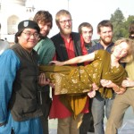 Pam Kittelson, Professor in Biology, hangs out with her students at the Taj Mahal.